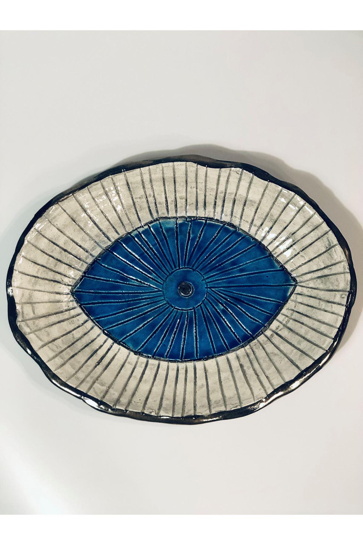 Seramık Buyuk Boy Oval Mavı Goz Kase Tuval Hedıyelık