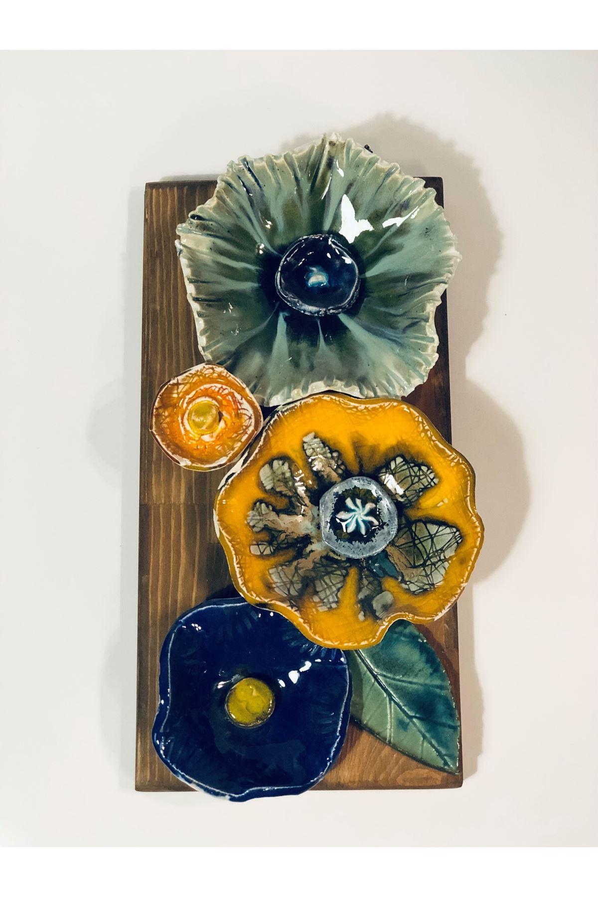 Seramik Çiçekli Pano Küçük Özel Çalışma Tuval Hediyelik