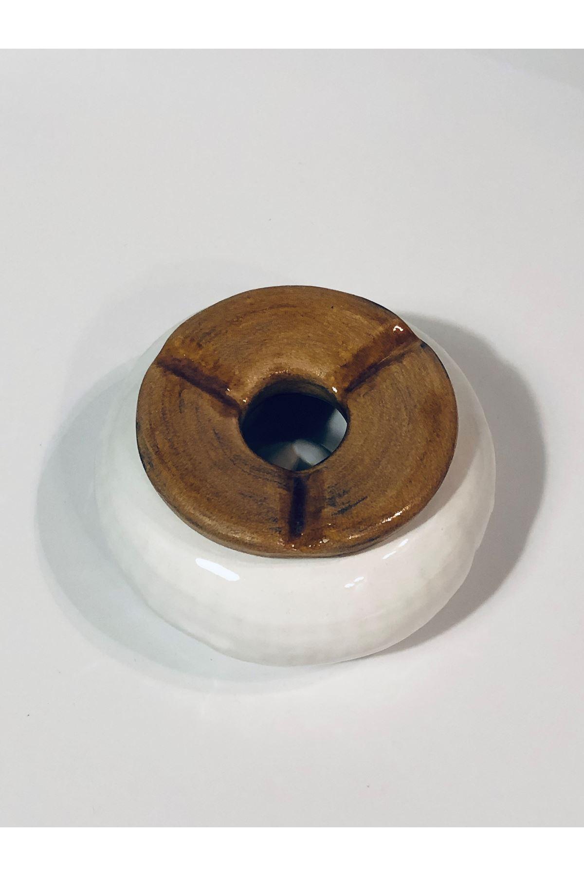 Seramık Kapaklı Kultablası Eskıtme Beyaz Tuval Hedıyelık